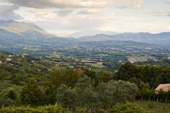 Italian Landscapes Campania. The valley of the Volturno views from the hills of the village of Squille in the province of Caserta, region Campania Italy August Stock Photos