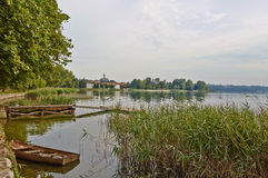 Italian Landscapes Lombardia. One corner of the Lake of Pusiano, in the locality of Bosisio Parini, province of Como Lombardy Italy, July 2014 Royalty Free Stock Photo