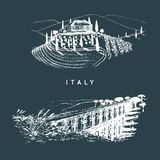 Italian landscapes set with roman aqueduct and Tuscany villa. Vector hand sketched illustration of Italy sights. European touristic symbols Royalty Free Stock Photo