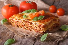 Italian lasagna with basil close-up on paper, horizontal rustic Royalty Free Stock Images