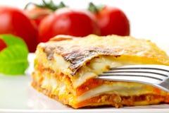 Italian lasagna close up. Italian lasagna dish with tomatoes Royalty Free Stock Photography