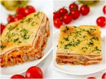 Italian lasagna collage. Royalty Free Stock Photos