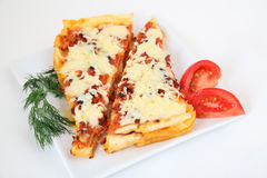 Italian lasagna with decoration Royalty Free Stock Photography