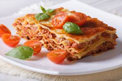 Italian Lasagna with fresh basil on a plate. horizontal Royalty Free Stock Photo