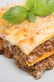 Italian Lasagna Meal. Freshly baked beef lasagne garnished with parmesan and basil Stock Photo