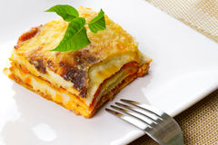 Italian lasagna on plate Royalty Free Stock Photo