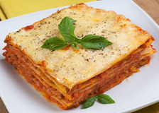 Italian lasagna on a plate Stock Images