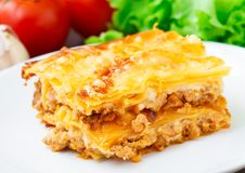 Italian lasagna on a plate Stock Photography