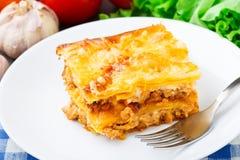 Italian lasagna on a plate Royalty Free Stock Photo