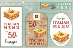 Italian Lasagne Stickers Set. On Blue Wooden Background in Retro Style. Vector Illustration Royalty Free Stock Images