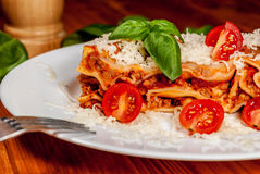 Italian lasagne with tomato Royalty Free Stock Photography
