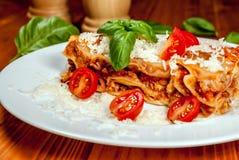 Italian lasagne with tomato Stock Photo