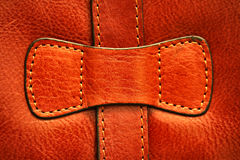 Italian leather briefcase stitching Royalty Free Stock Photography