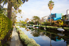 Italian-like canals in Los Angeles  with canoes Royalty Free Stock Photography