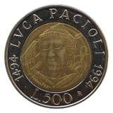 Italian liras. Italian lira coins with Luca Pacioli (mathematician) portrait on, isolated over white background Royalty Free Stock Photos