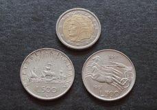 Italian liras silver coins and Dante Alighieri coin Stock Image