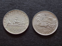Italian liras silver coins Royalty Free Stock Images