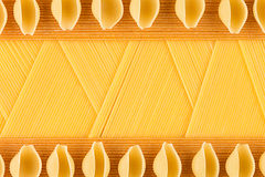 Italian long kinds spaghetti top view with copy space as decorative pasta background. Stock Photo
