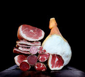 Italian lunch meat bresaola, prosciutto, culatello, pancetta and salami Royalty Free Stock Image