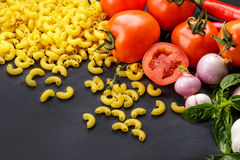Italian macaroni pasta ingredients Royalty Free Stock Photo