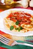 Italian macaroni pasta with tomato sauce Royalty Free Stock Photo