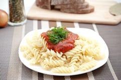 Italian macaroni pasta with tomato sauce Stock Image