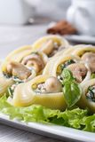 Italian macaroni stuffed with mushrooms, spinach and cheese clo. Lumakoni Italian macaroni stuffed with mushrooms, spinach and cheese closeup on a white dish Stock Photo