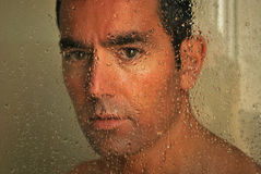 Italian man. Man having a shower in the morning Stock Photography