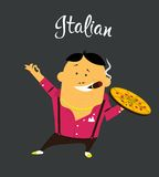 Italian man cartoon character, citizen of the. Italy with cigar and pizza in colorful shirt with moustache Royalty Free Stock Photography