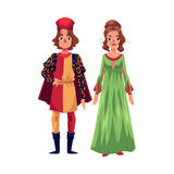 Italian Man and woman in Renaissance time costumes, clothing Stock Photo