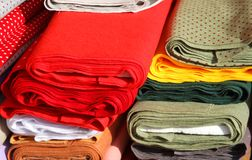 Italian manufacture fabrics for sale in tailoring Stock Photos