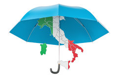Italian map under umbrella. Security and protect or insurance co. Ncept, 3D rendering isolated on white background Royalty Free Stock Image