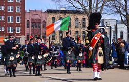 Italian Marching Band on the Saint Patrick Day's parade in Madison, Wisconsin in 2013 Royalty Free Stock Images