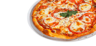Italian Margarita pizza with tomato, cheese, herbs and basil. isolated on white Stock Image