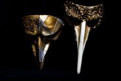 Italian Masquerade Masks on Black Background. Stunning Masquerade Masks on Black Background royalty free stock photos