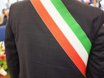 Italian mayor with sash. Mayor of Italian town with Italian tricolour flag mayoral sash Stock Photos