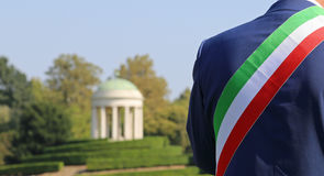 Italian mayor with the tricolor flag Royalty Free Stock Photo