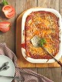 Italian meat lasagna in baking dish Royalty Free Stock Photos