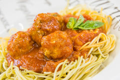 Italian Meatballs. Delicious spaghetti meatballs with basil tomato sauce Royalty Free Stock Images
