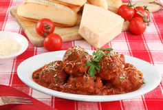 Italian meatballs in an oval dish. Royalty Free Stock Photos