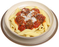 Italian Meatballs and Pasta. Meatballs in tomato sauce with rigatoni pasta Stock Photography