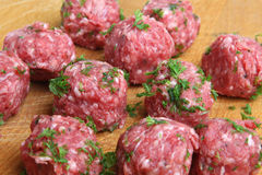 Italian Meatballs Preparation Stock Photos