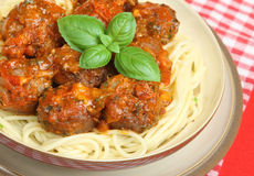 Italian Meatballs and Spaghetti Stock Photo