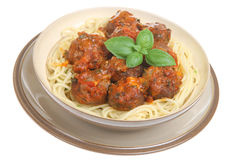 Italian Meatballs with Spaghetti Stock Images