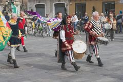 Italian medieval drummers Stock Photos
