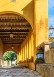 Italian medieval porch, Tuscany, Italy Royalty Free Stock Photography
