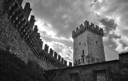 Italian medieval Vigoleno castle BW Stock Images