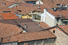 Italian medieval village roof shingle Stock Image