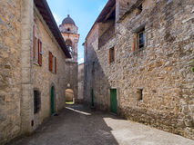 Italian Medieval village street in north Tuscany. Royalty Free Stock Images