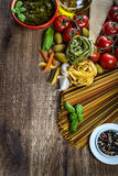 Italian and Mediterranean food ingredients on old wooden background. stock photography